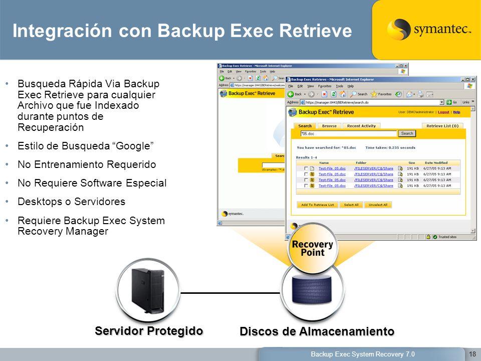 Backup Exec System Recovery 7.018 Servidor Protegido Discos de Almacenamiento Integración con Backup Exec Retrieve Busqueda Rápida Via Backup Exec Ret