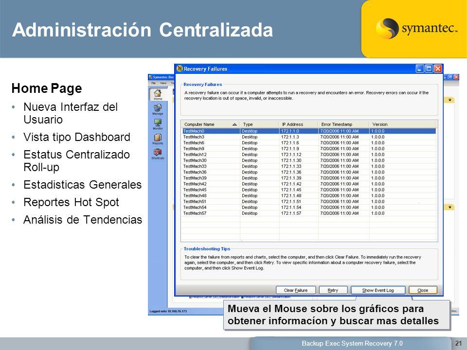 Backup Exec System Recovery 7.021 Administración Centralizada Home Page Nueva Interfaz del Usuario Vista tipo Dashboard Estatus Centralizado Roll-up E