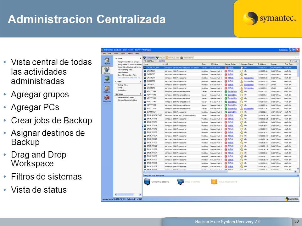 Backup Exec System Recovery 7.022 Administracion Centralizada Vista central de todas las actividades administradas Agregar grupos Agregar PCs Crear jo