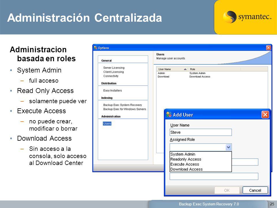 Backup Exec System Recovery 7.025 Administración Centralizada Administracion basada en roles System Admin –full acceso Read Only Access –solamente pue