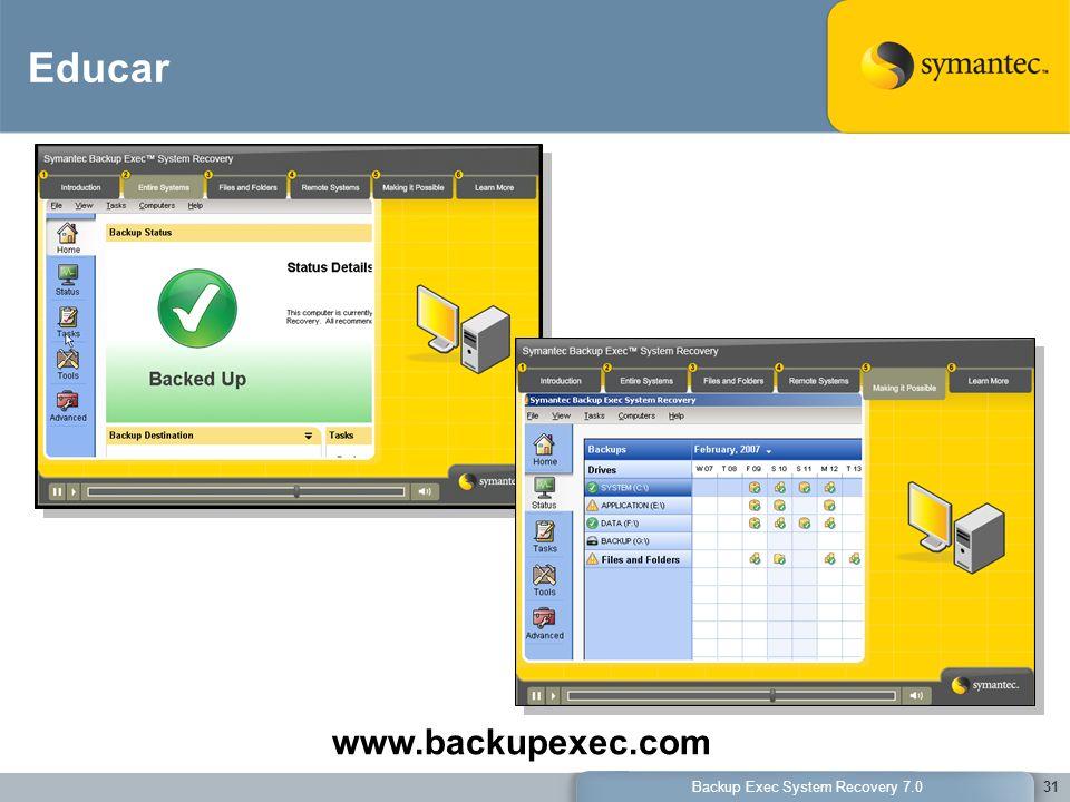 Backup Exec System Recovery 7.031 Educar www.backupexec.com