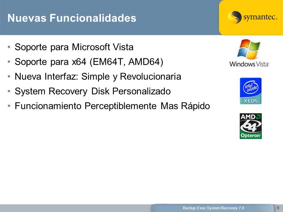 9 Nuevas Funcionalidades Soporte para Microsoft Vista Soporte para x64 (EM64T, AMD64) Nueva Interfaz: Simple y Revolucionaria System Recovery Disk Per