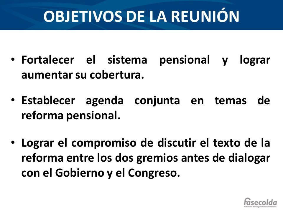 OBJETIVOS DE LA REUNIÓN Fortalecer el sistema pensional y lograr aumentar su cobertura. Establecer agenda conjunta en temas de reforma pensional. Logr
