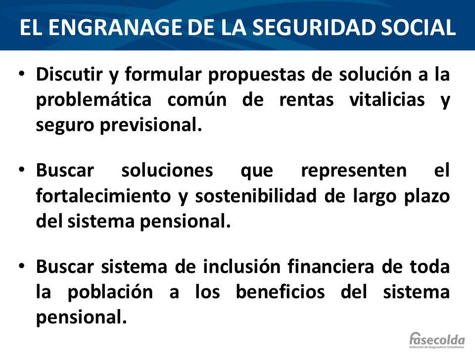 EL ENGRANAGE DE LA SEGURIDAD SOCIAL Discutir y formular propuestas de solución a la problemática común de rentas vitalicias y seguro previsional. Busc