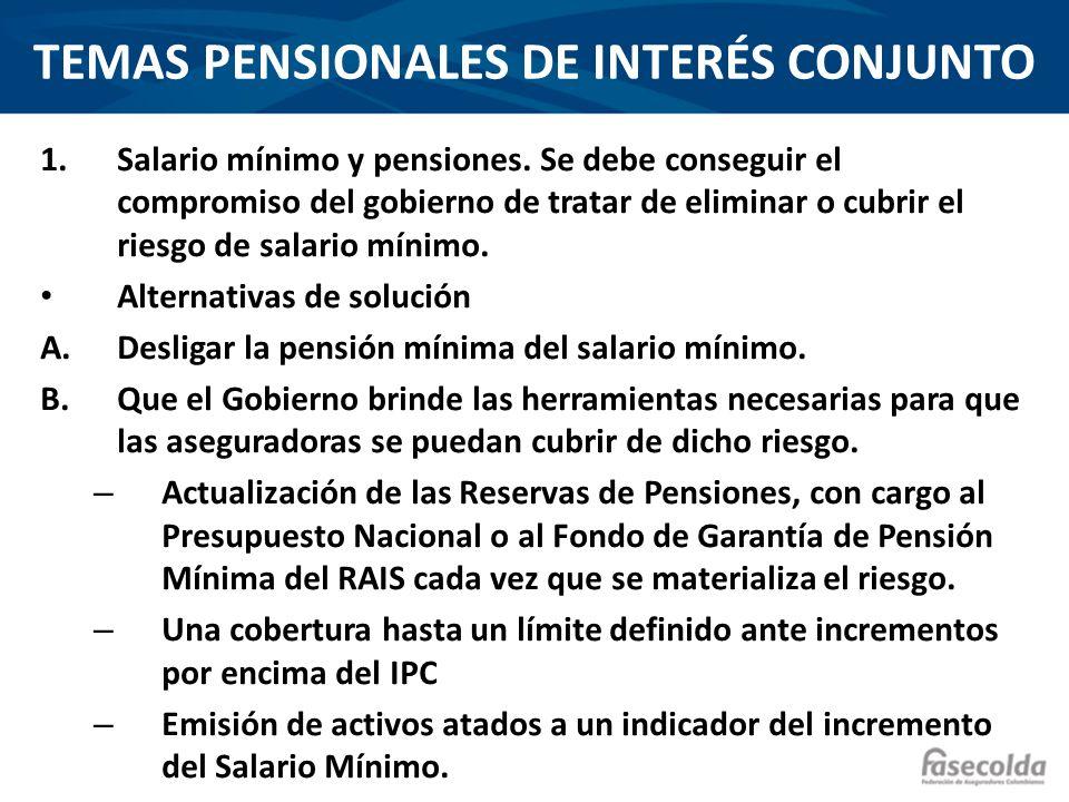 TEMAS PENSIONALES DE INTERÉS CONJUNTO 1.Salario mínimo y pensiones. Se debe conseguir el compromiso del gobierno de tratar de eliminar o cubrir el rie