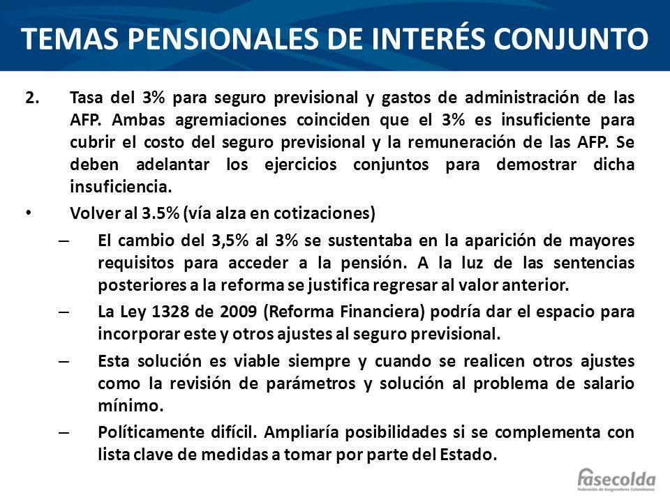 TEMAS PENSIONALES DE INTERÉS CONJUNTO Esquemas alternativos de financiación de comisión de administración y seguro previsional.