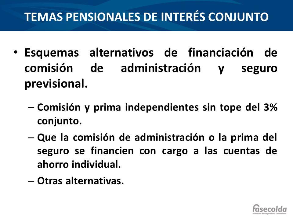 TEMAS PENSIONALES DE INTERÉS CONJUNTO Esquemas alternativos de financiación de comisión de administración y seguro previsional. – Comisión y prima ind