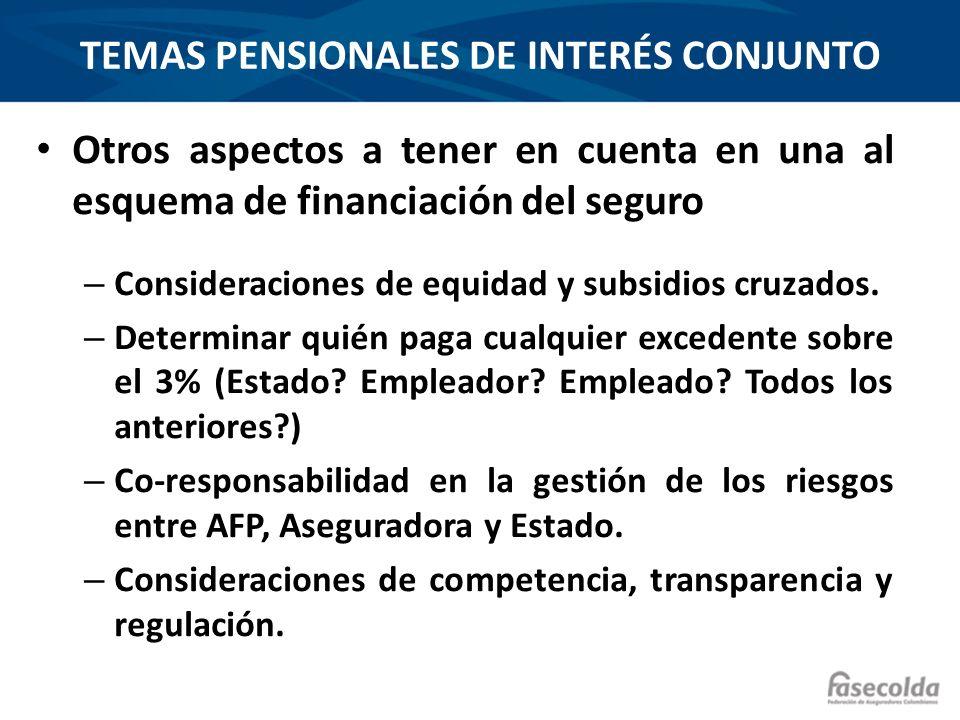 TEMAS PENSIONALES DE INTERÉS CONJUNTO Otros aspectos a tener en cuenta en una al esquema de financiación del seguro – Consideraciones de equidad y sub