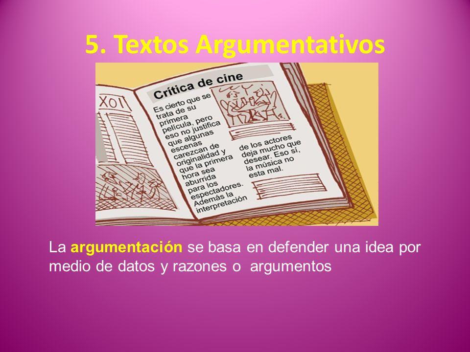 5. Textos Argumentativos La argumentación se basa en defender una idea por medio de datos y razones o argumentos