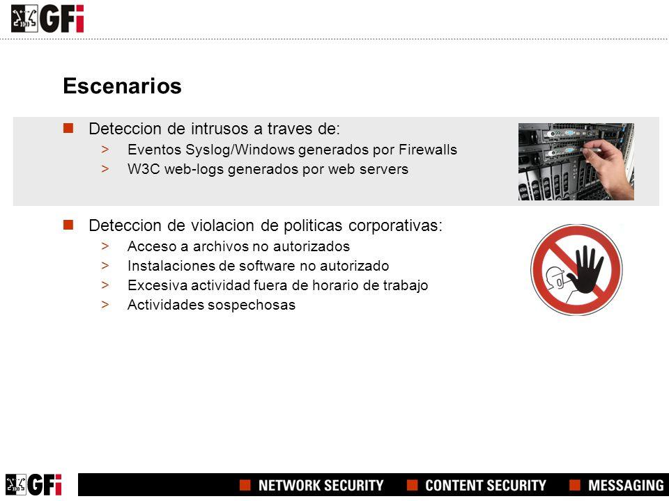 Escenarios Deteccion de intrusos a traves de: >Eventos Syslog/Windows generados por Firewalls >W3C web-logs generados por web servers Deteccion de violacion de politicas corporativas: >Acceso a archivos no autorizados >Instalaciones de software no autorizado >Excesiva actividad fuera de horario de trabajo >Actividades sospechosas