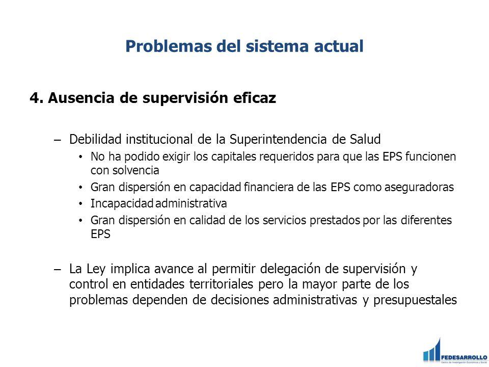 Problemas del sistema actual 4. Ausencia de supervisión eficaz – Debilidad institucional de la Superintendencia de Salud No ha podido exigir los capit