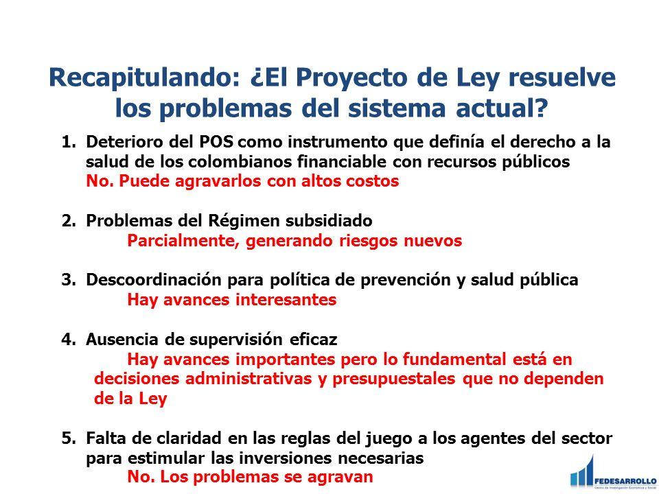 Recapitulando: ¿El Proyecto de Ley resuelve los problemas del sistema actual? 1.Deterioro del POS como instrumento que definía el derecho a la salud d