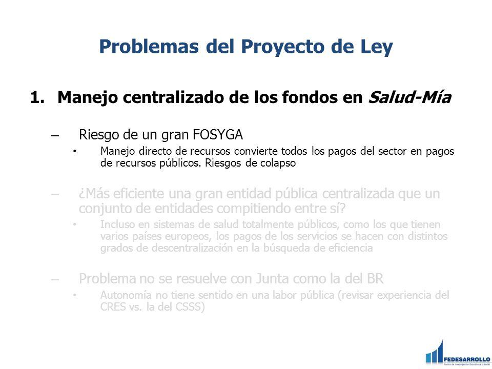 Problemas del Proyecto de Ley 1.Manejo centralizado de los fondos en Salud-Mía – Riesgo de un gran FOSYGA Manejo directo de recursos convierte todos l