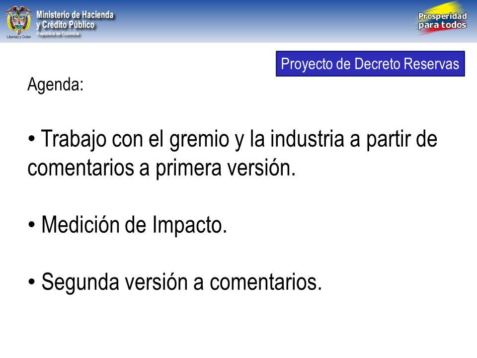 Libertad y Orden República de Colombia Agenda: Trabajo con el gremio y la industria a partir de comentarios a primera versión. Medición de Impacto. Se