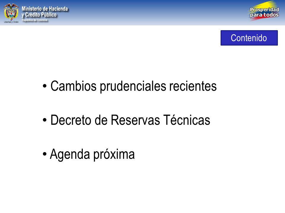 Libertad y Orden República de Colombia Cambios prudenciales recientes Decreto de Reservas Técnicas Agenda próxima Contenido
