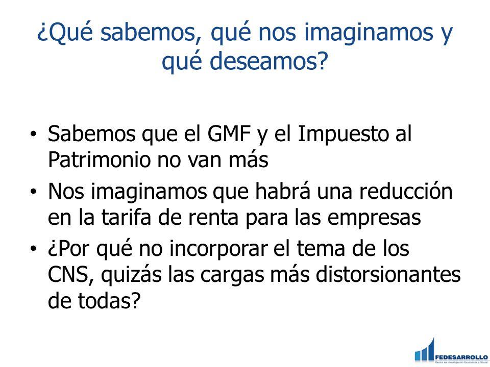 ¿Qué sabemos, qué nos imaginamos y qué deseamos? Sabemos que el GMF y el Impuesto al Patrimonio no van más Nos imaginamos que habrá una reducción en l