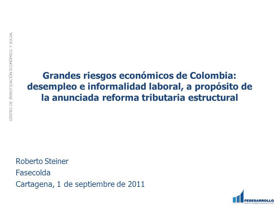 Grandes riesgos económicos de Colombia: desempleo e informalidad laboral, a propósito de la anunciada reforma tributaria estructural CENTRO DE INVESTI