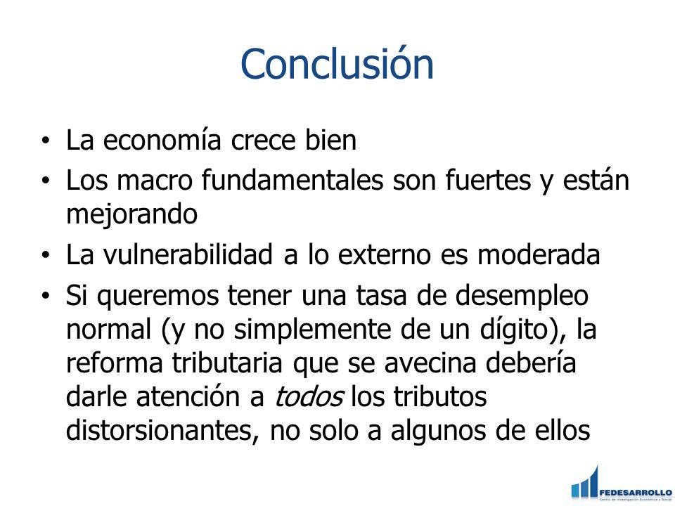 Conclusión La economía crece bien Los macro fundamentales son fuertes y están mejorando La vulnerabilidad a lo externo es moderada Si queremos tener u
