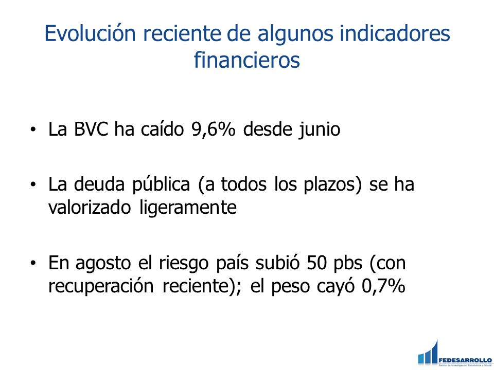 Evolución reciente de algunos indicadores financieros La BVC ha caído 9,6% desde junio La deuda pública (a todos los plazos) se ha valorizado ligerame