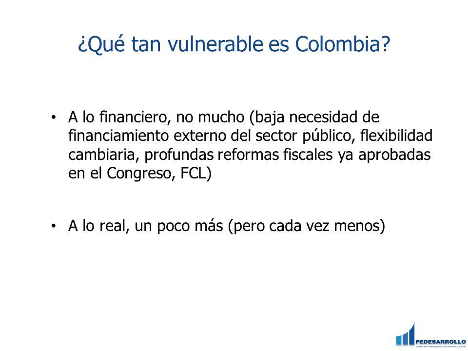 ¿Qué tan vulnerable es Colombia? A lo financiero, no mucho (baja necesidad de financiamiento externo del sector público, flexibilidad cambiaria, profu