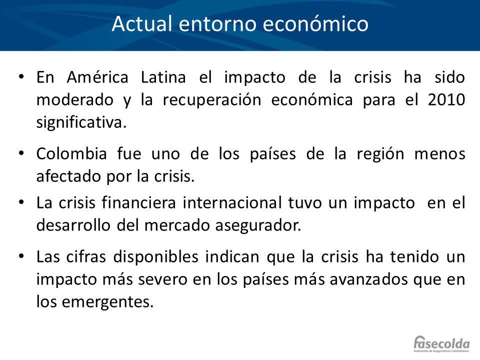 Actual entorno económico En América Latina el impacto de la crisis ha sido moderado y la recuperación económica para el 2010 significativa. Colombia f