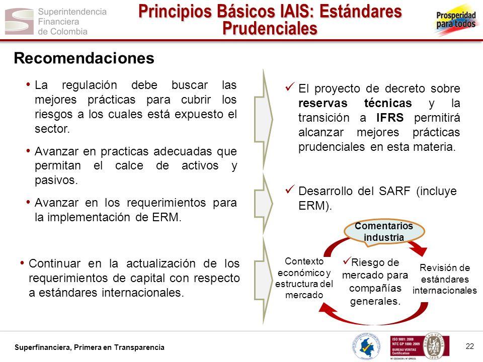 Superfinanciera, Primera en Transparencia Continuar en la actualización de los requerimientos de capital con respecto a estándares internacionales. La