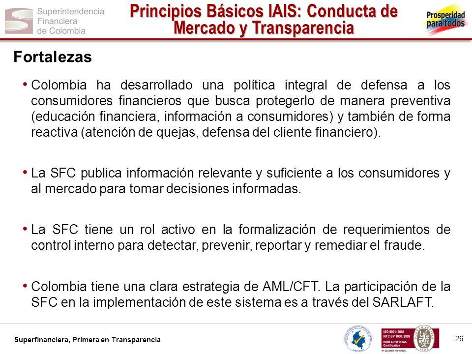 Superfinanciera, Primera en Transparencia Colombia ha desarrollado una política integral de defensa a los consumidores financieros que busca protegerl