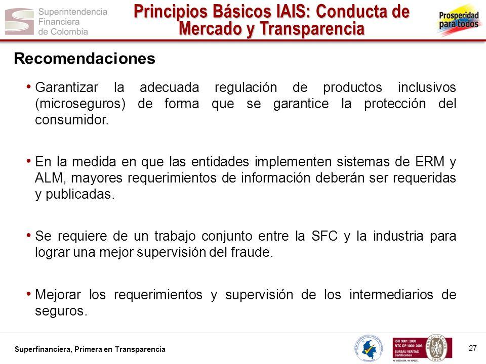 Superfinanciera, Primera en Transparencia Garantizar la adecuada regulación de productos inclusivos (microseguros) de forma que se garantice la protec