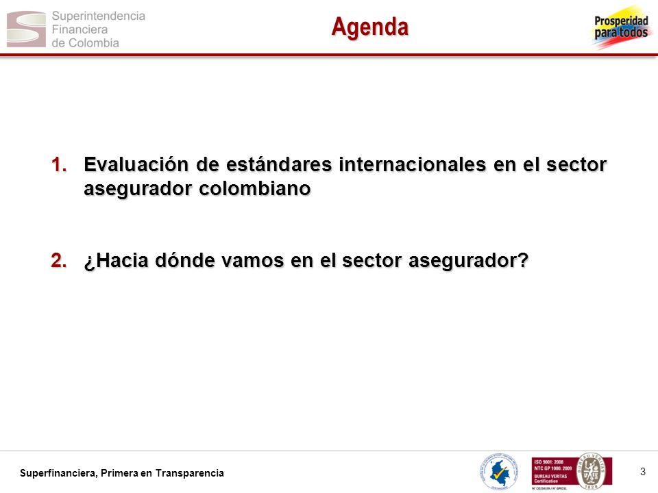 Superfinanciera, Primera en Transparencia 1.Evaluación de estándares internacionales en el sector asegurador colombiano 2.¿Hacia dónde vamos en el sec