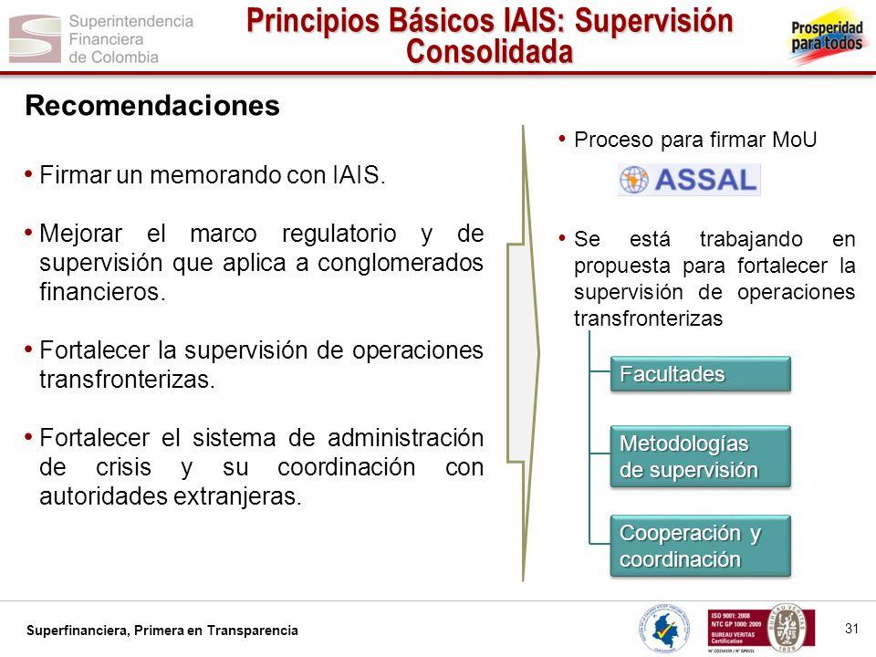 Superfinanciera, Primera en Transparencia FacultadesFacultades Metodologías de supervisión Cooperación y coordinación Firmar un memorando con IAIS. Me