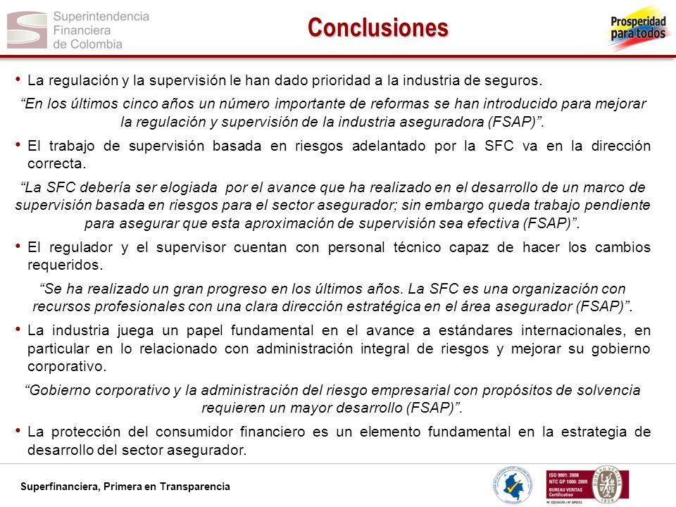 Superfinanciera, Primera en Transparencia Conclusiones La regulación y la supervisión le han dado prioridad a la industria de seguros. En los últimos