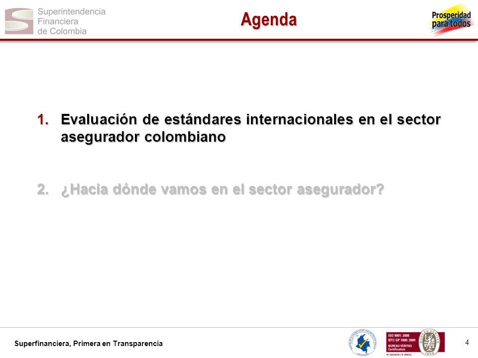 Superfinanciera, Primera en Transparencia Agenda 4 1.Evaluación de estándares internacionales en el sector asegurador colombiano 2.¿Hacia dónde vamos