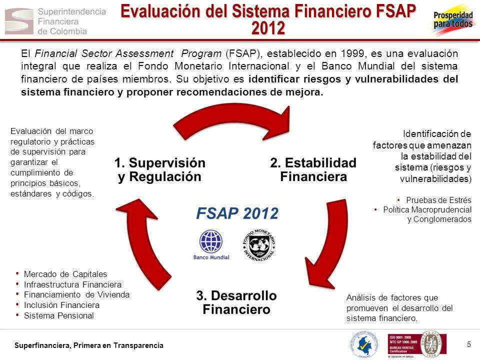 Superfinanciera, Primera en Transparencia El Financial Sector Assessment Program (FSAP), establecido en 1999, es una evaluación integral que realiza e