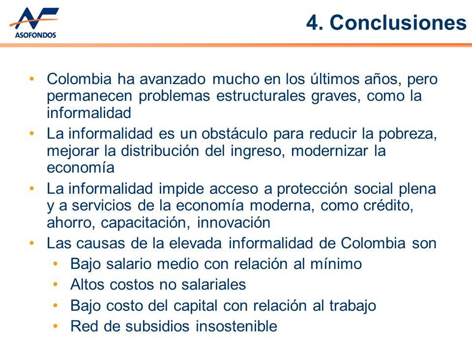Colombia ha avanzado mucho en los últimos años, pero permanecen problemas estructurales graves, como la informalidad La informalidad es un obstáculo p