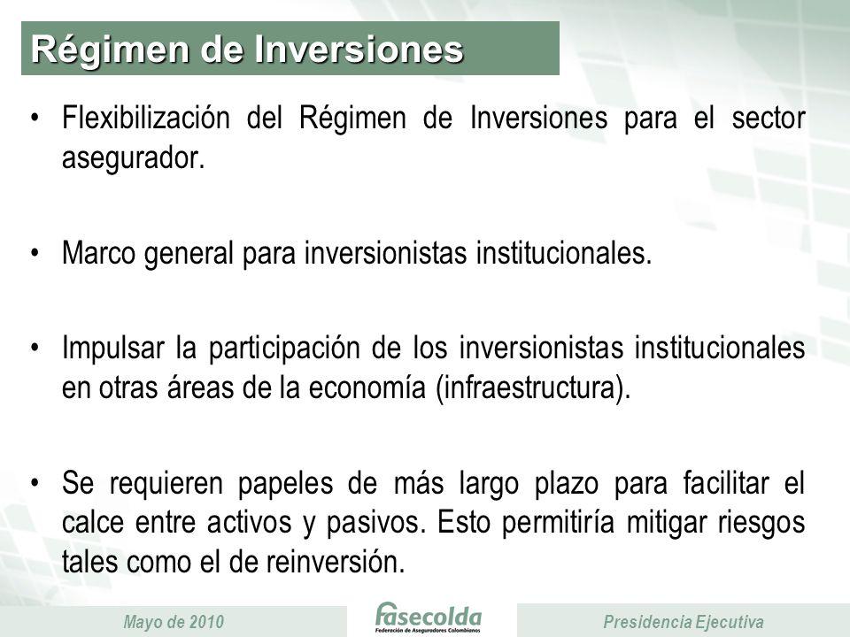 Presidencia Ejecutiva Mayo de 2010 Presidencia Ejecutiva Régimen de Inversiones Flexibilización del Régimen de Inversiones para el sector asegurador.
