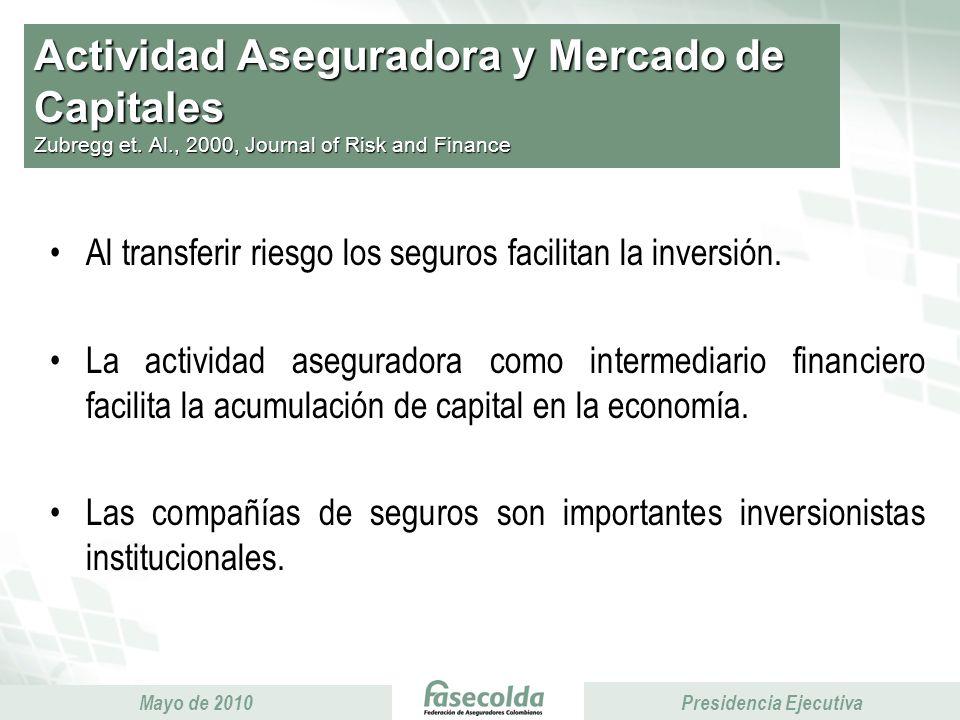 Presidencia Ejecutiva Mayo de 2010 Presidencia Ejecutiva Actividad Aseguradora y Mercado de Capitales Zubregg et.