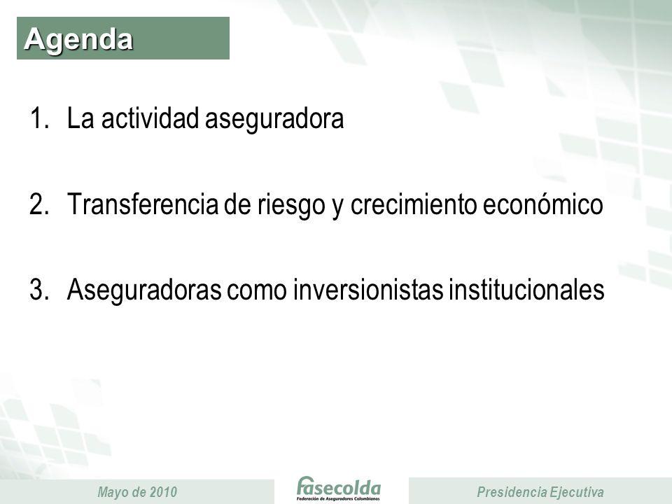 Presidencia Ejecutiva Mayo de 2010 Presidencia Ejecutiva Agenda 1.La actividad aseguradora 2.Transferencia de riesgo y crecimiento económico 3.Aseguradoras como inversionistas institucionales