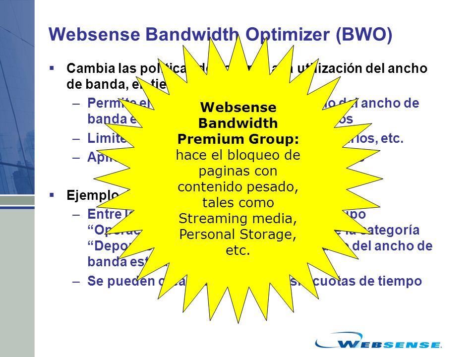 Websense Bandwidth Optimizer (BWO) Cambia las políticas de acuerdo a la utilización del ancho de banda, en tiempo real –Permite el acceso mientras el