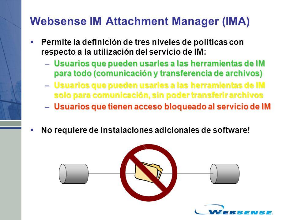 Websense IM Attachment Manager (IMA) Permite la definición de tres niveles de políticas con respecto a la utilización del servicio de IM: –Usuarios qu