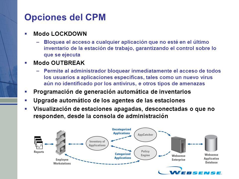 Opciones del CPM Modo LOCKDOWN –Bloquea el acceso a cualquier aplicación que no esté en el último inventario de la estación de trabajo, garantizando e