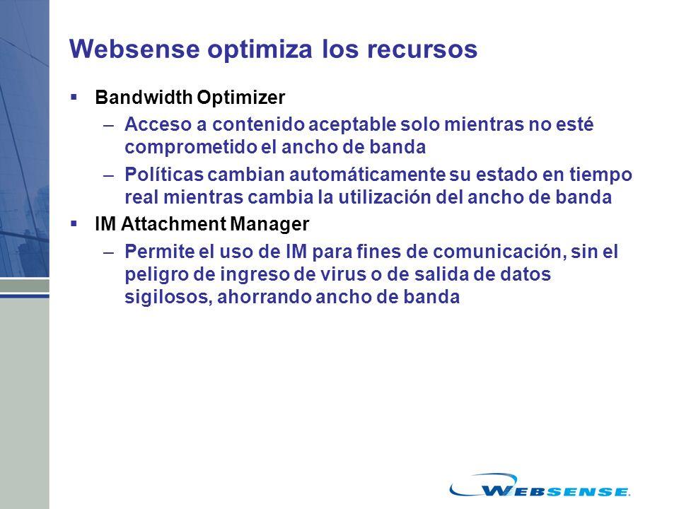 Websense optimiza los recursos Bandwidth Optimizer –Acceso a contenido aceptable solo mientras no esté comprometido el ancho de banda –Políticas cambi