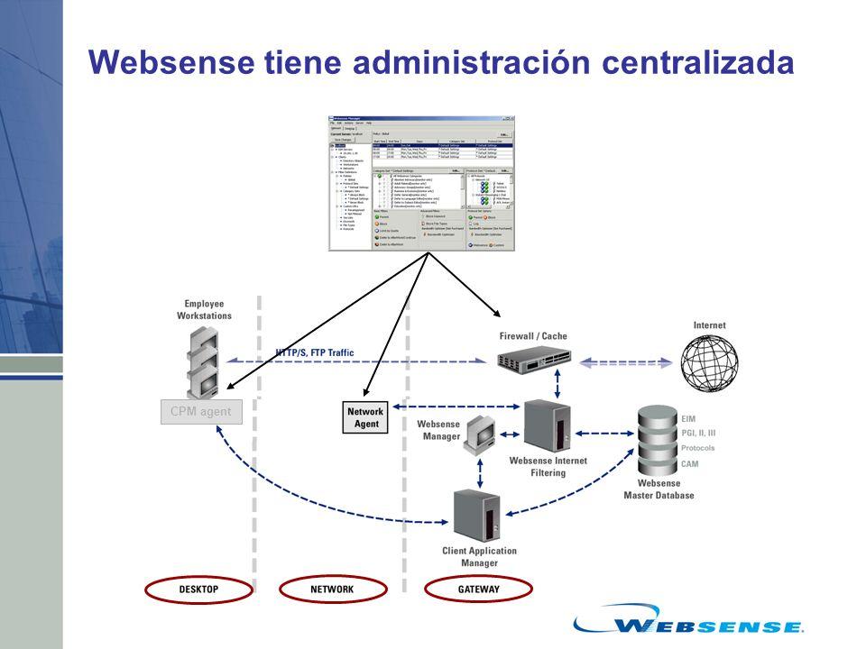 Websense tiene administración centralizada CPM agent