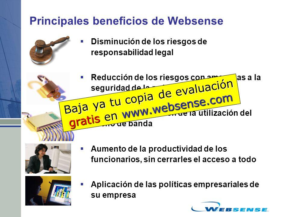 Principales beneficios de Websense Disminución de los riesgos de responsabilidad legal Reducción de los riesgos con amenazas a la seguridad de la red