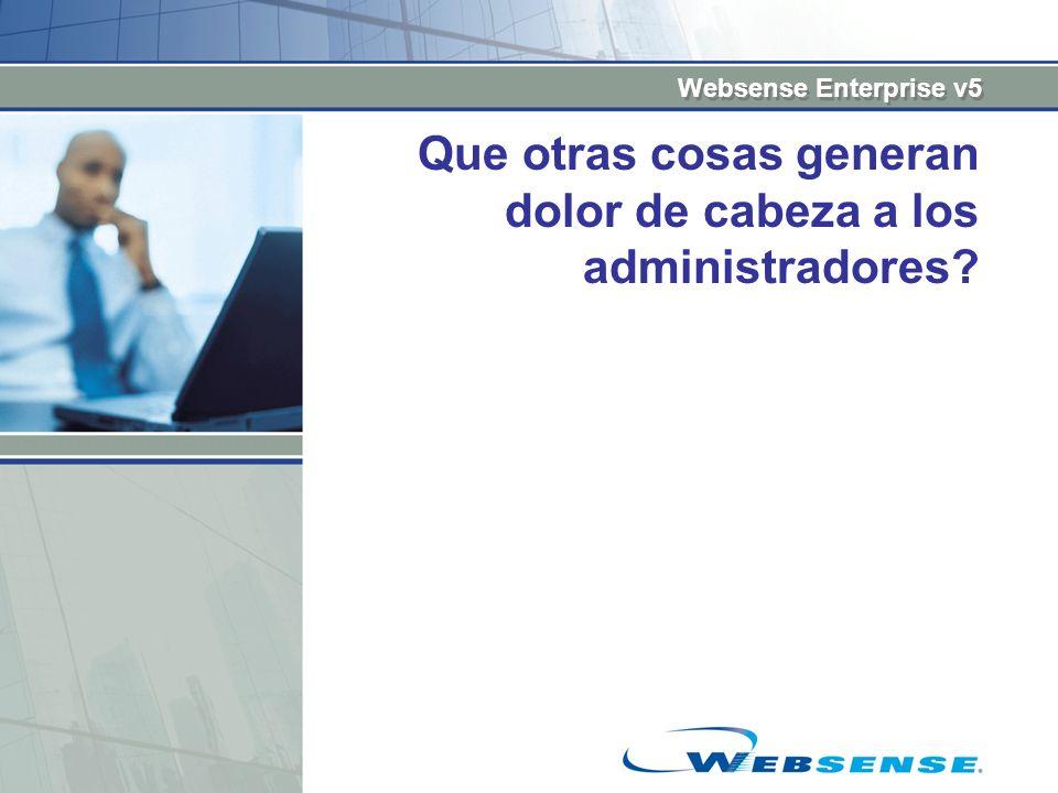 Websense Enterprise v5 Que otras cosas generan dolor de cabeza a los administradores?
