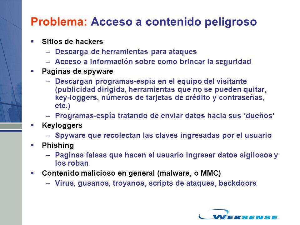 Problema: Acceso a contenido peligroso Sitios de hackers –Descarga de herramientas para ataques –Acceso a información sobre como brincar la seguridad