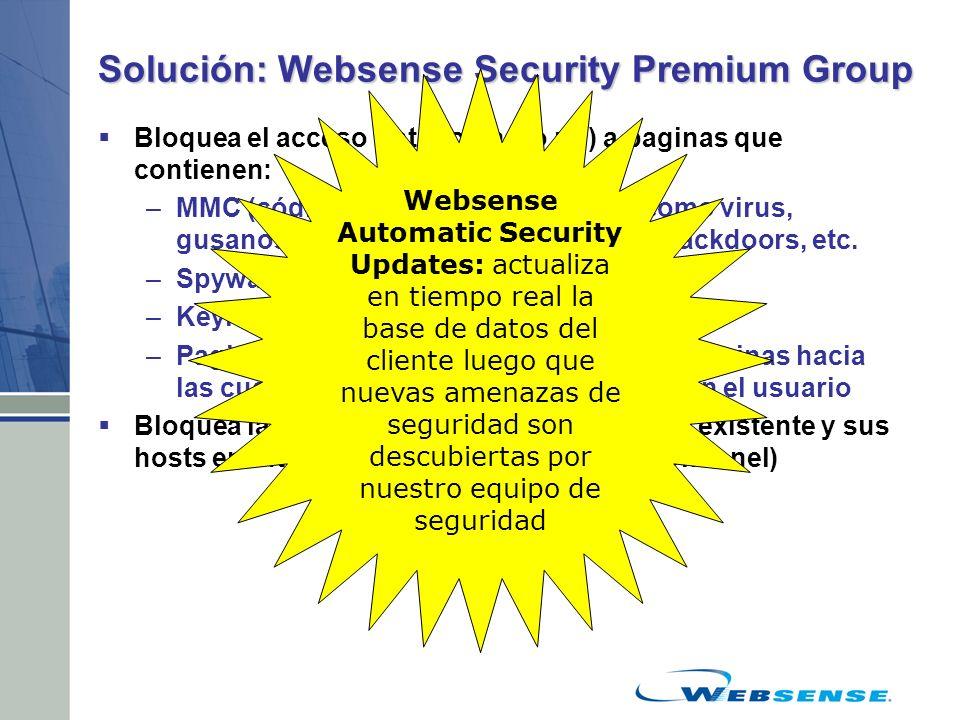 Solución: Websense Security Premium Group Bloquea el acceso (intencional o no) a paginas que contienen: –MMC (código malicioso móvil), tales como viru