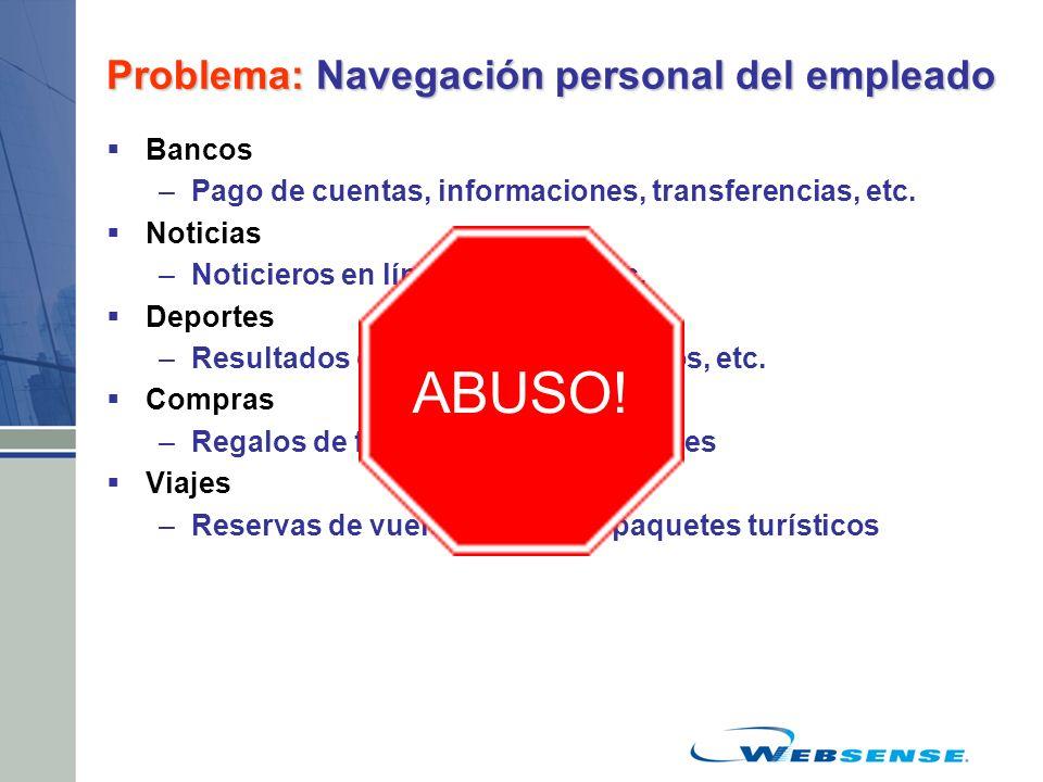Problema: Navegación personal del empleado Bancos –Pago de cuentas, informaciones, transferencias, etc. Noticias –Noticieros en línea, finanzas, etc.