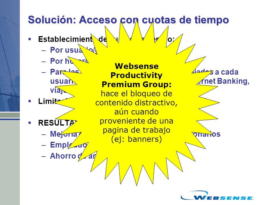 Solución: Acceso con cuotas de tiempo Establecimiento de cuotas de tiempo: –Por usuario/grupo –Por horarios del día –Para las categorías consideradas