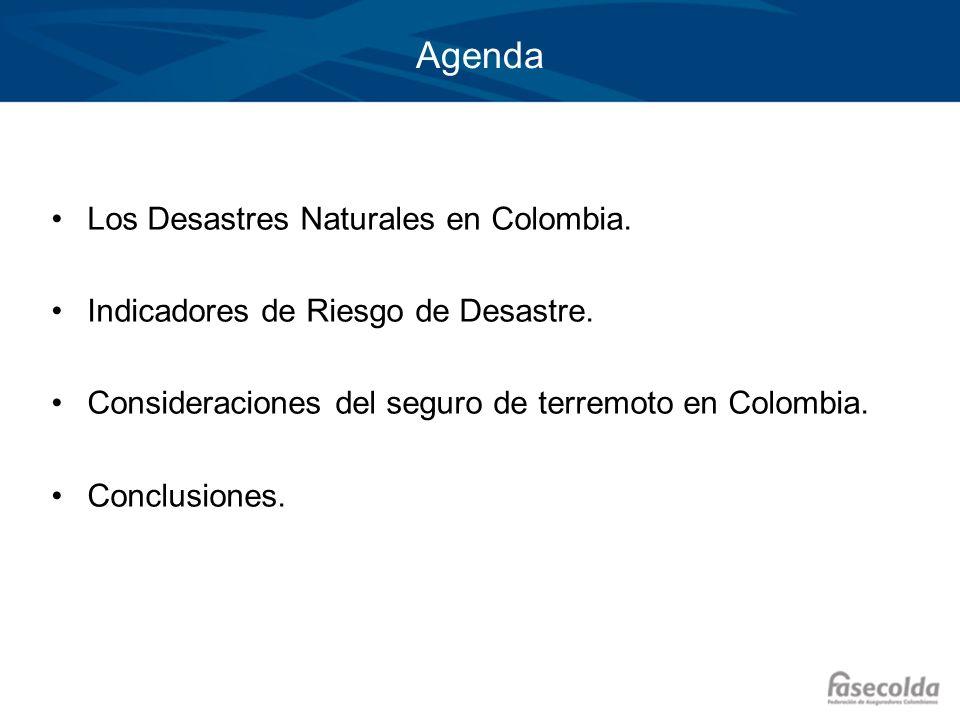 Agenda Los Desastres Naturales en Colombia. Indicadores de Riesgo de Desastre. Consideraciones del seguro de terremoto en Colombia. Conclusiones.