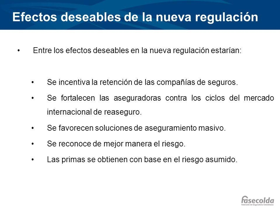 Efectos deseables de la nueva regulación Entre los efectos deseables en la nueva regulación estarían: Se incentiva la retención de las compañías de se